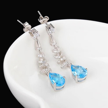 цена wholesale new design trendy gemstone jewelry 925 sterling silver natural blue topaz crystal pendant drop earrings for women онлайн в 2017 году