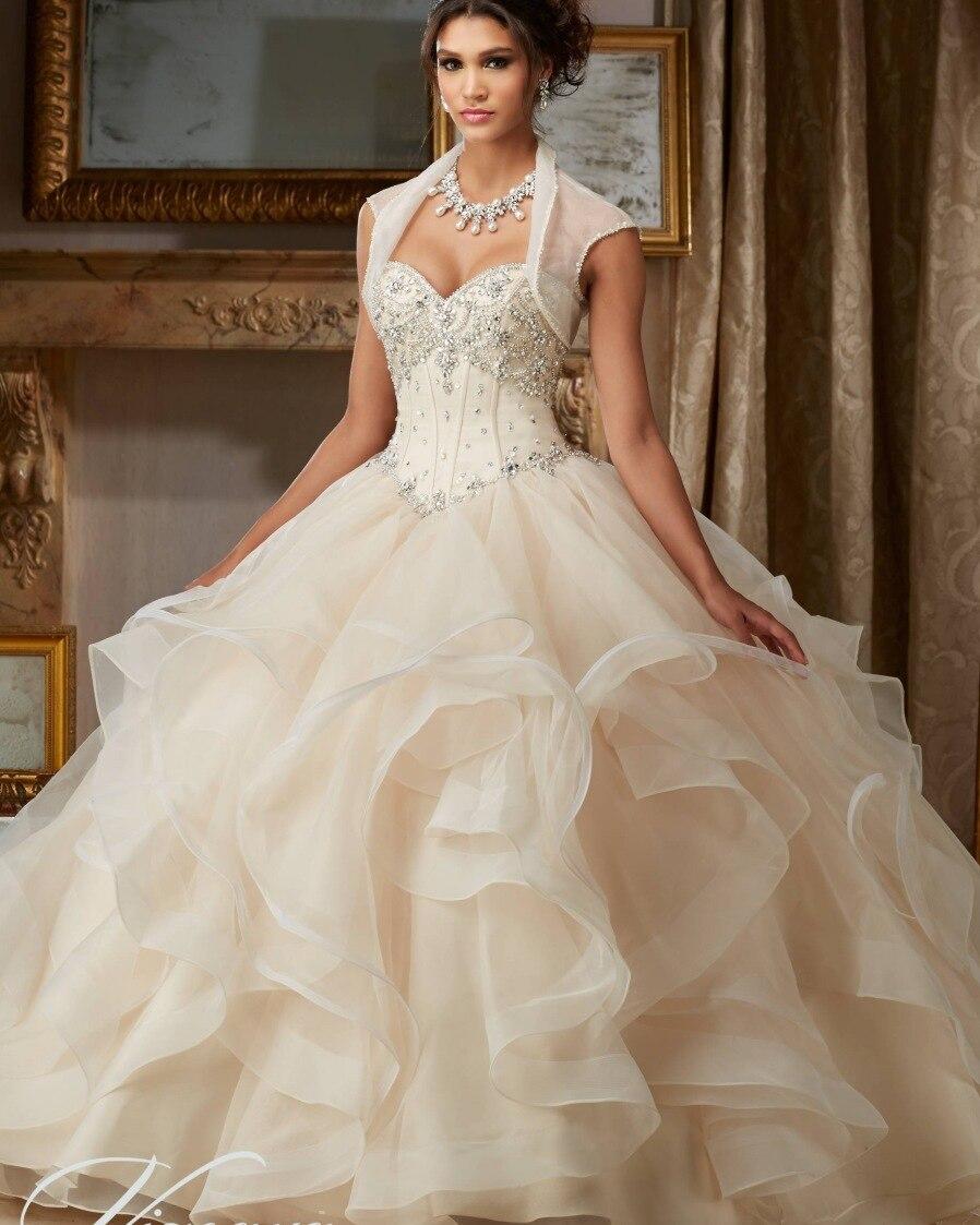 Champagne perlé pas cher 2 pièces Quinceanera robes 2019 Spaghetti sangle robe de bal robes de Debutante douce 16 robe