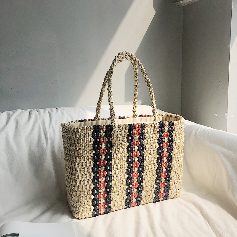 New womens bag straw woven single shoulder compound rattan