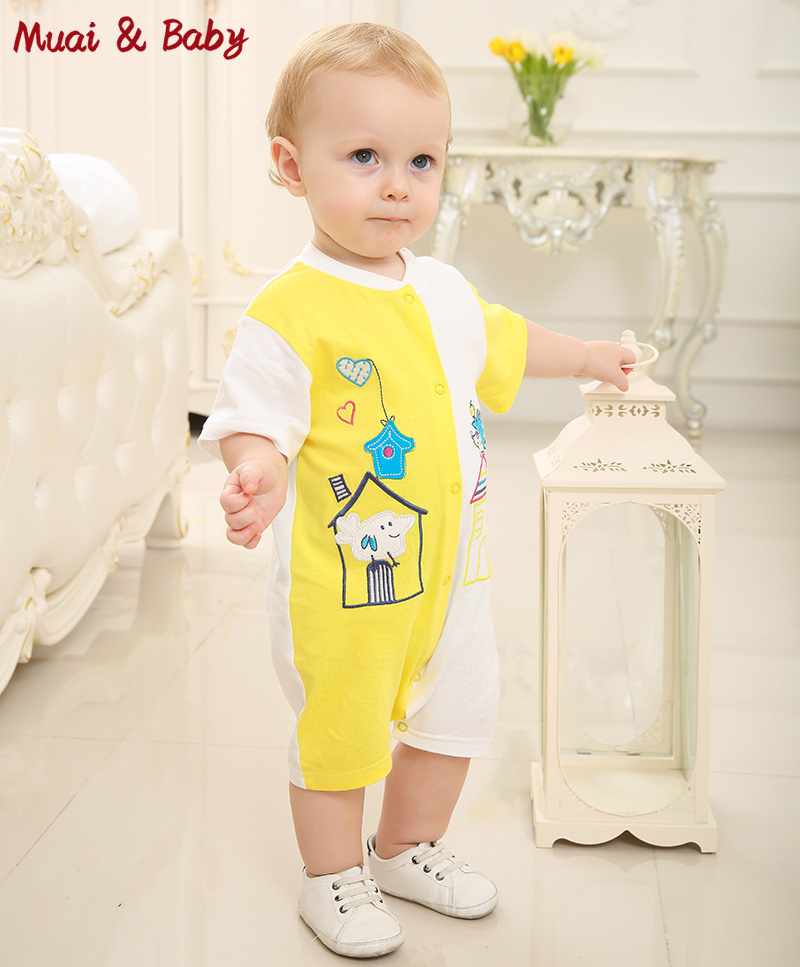Fashion Infant Clothing Baby Romper Short Sleeve Stitching