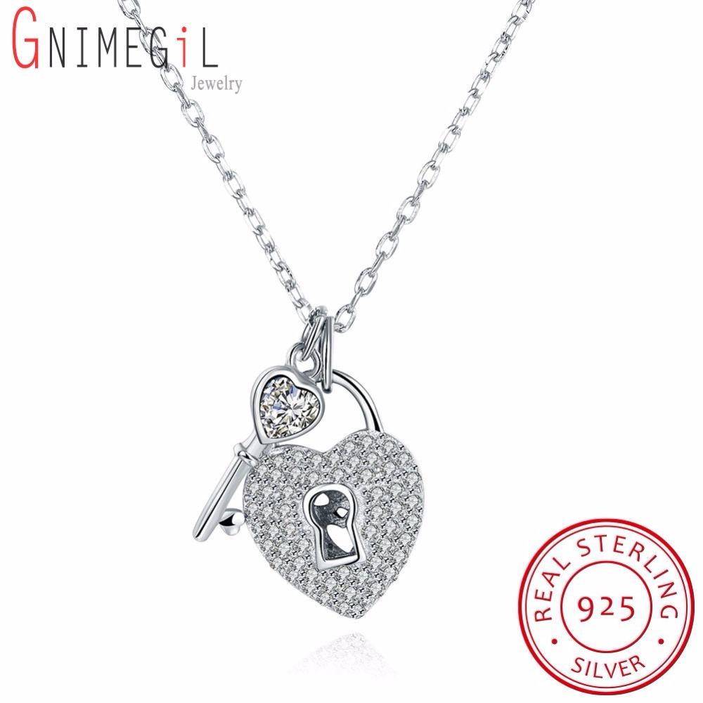 GNIMEGIL 925 Sterling Silver Key and Heart Lock Charm Pendant Necklace For Women Romantic Necklace Crystal Wedding Jewelry Colar bisaer 7pcs 925 sterling silver heart key and locket heart pendant brand charm bracelet for women wedding silver bangle gxb811