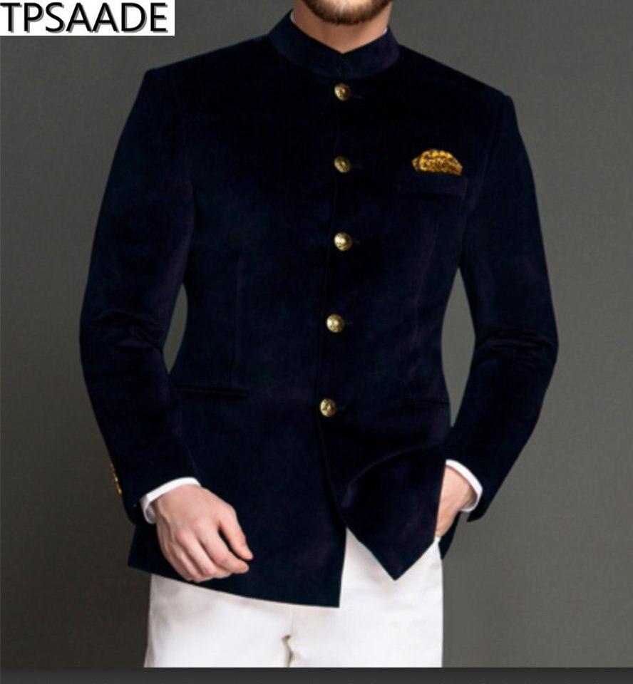 สีน้ำเงินกำมะหยี่ธุรกิจผู้ชายชุด 2020 ปุ่มห้าปุ่มงาช้างกางเกง Custom Made งานแต่งงานเจ้าบ่าว Tuxedos (แจ็คเก็ต + กางเกง)-ใน สูท จาก เสื้อผ้าผู้ชาย บน   1