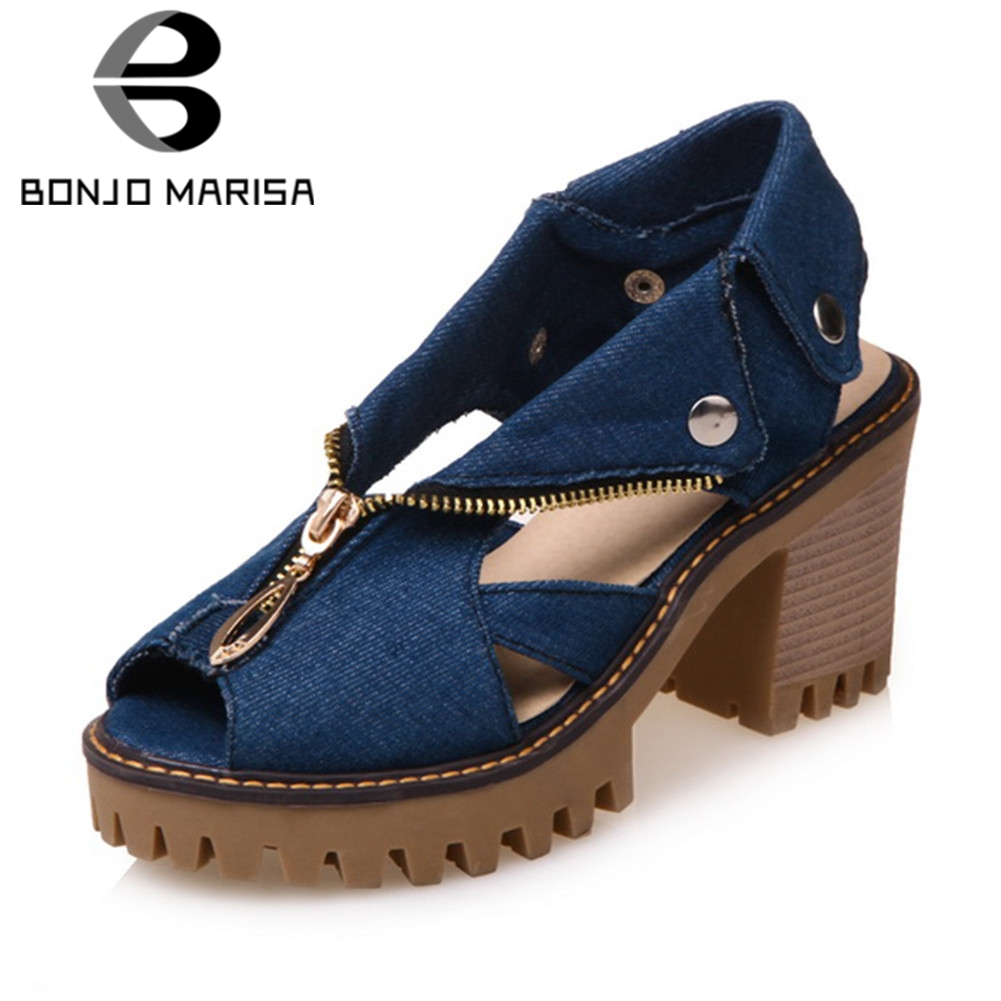 BONJOMARISA 2019 Fashion 34 43 Zipper Decorate Summer Sandals Women Platform Denim Shoes High Wide Heels Beach Women Shoes Woman