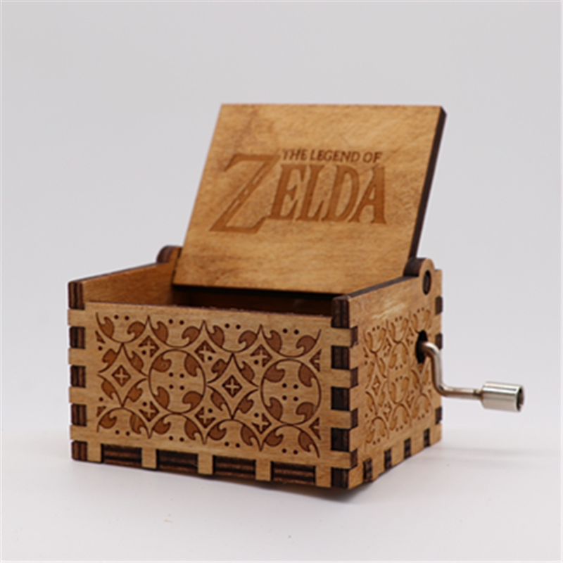 Fancy Happy Birthday Legend of Zelda Cosplay Costumes Props Hand Cranked Music Box Engraved Wooden Crafts Christmas Best Gift in Costume Props from Novelty Special Use