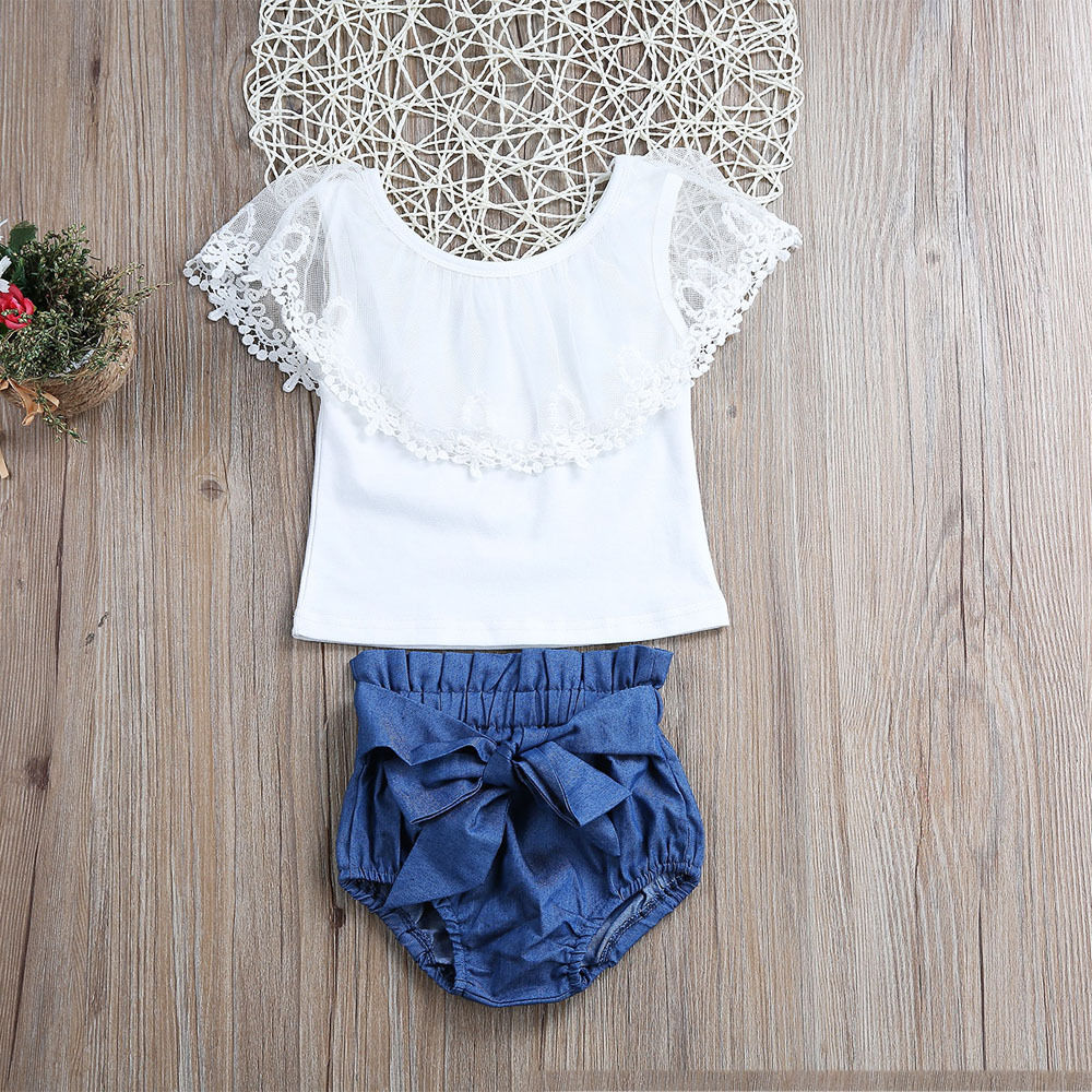 2Pcs Adorable Baby Girls Sets Toddler Baby Girls Lace Off Shoulder Tops Blue Bowknot Denim Shorts Kids Girls Outfits Set Clothes off shoulder tops t shirts denim pants hole jeans 3pcs outfits set clothing fashion baby kids girls clothes sets