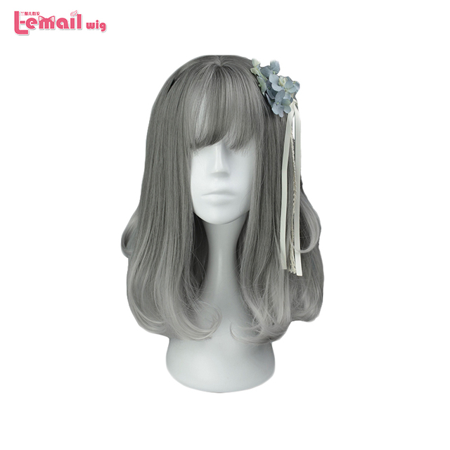 L-email New Fashion Women Wig Thin Bangs Wispy Fringes Color Gray Lolita Wigs Curly Synthetic Hair Peruca Cosplay Wigs for Women