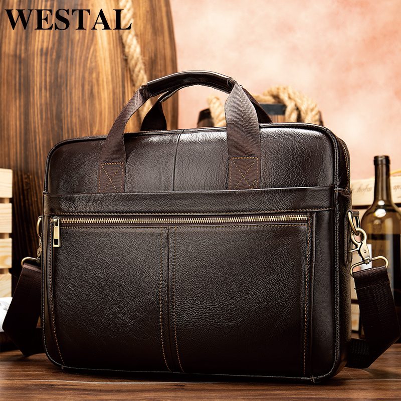 WESTAL briefcase messenger bag men s genuine leather 14 laptop bag men s briefcases office business