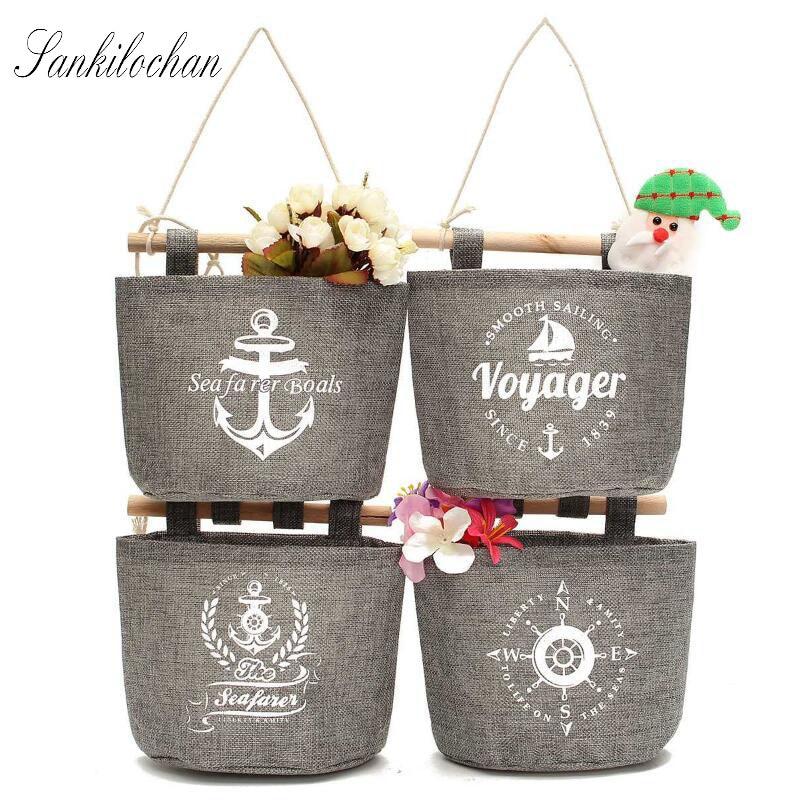 4Styles Wall Sundry Navy Fabric Cotton Pocket Hanging Holder Storage Bag Rack makeup Cosmetic organizer storage basket box AU232