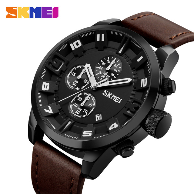 c72023d166f SKMEI Luxury Multifunction Retro Leather Quartz Watches Small Dial Working  For Business Male Stop Watch Calendar