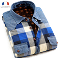 Langmeng New arrival 2015 mens winter outwear plaid shirts Men casual warm long sleeve clothing denim jeans velvet shirts
