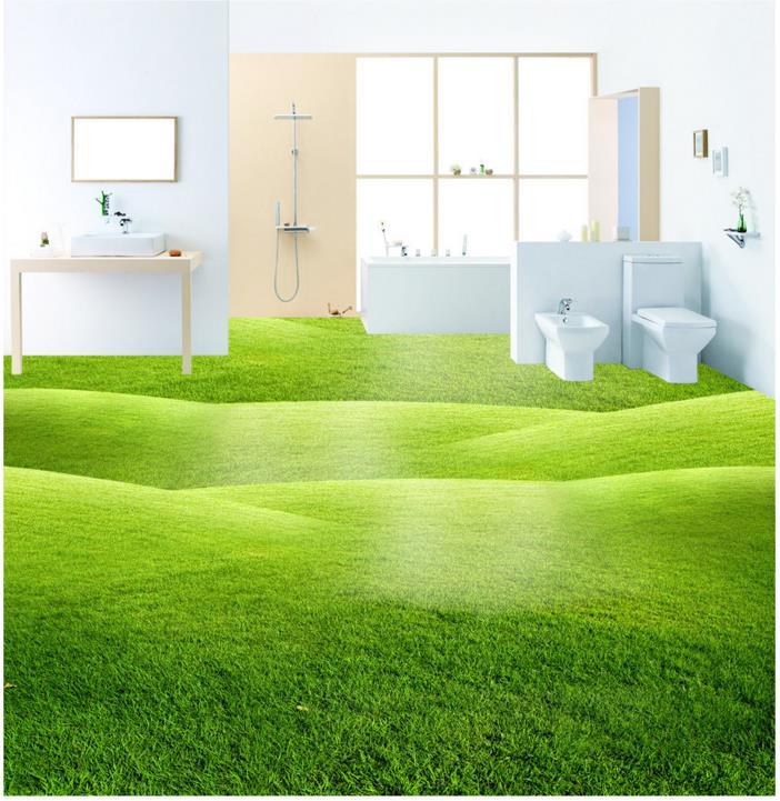 Green Nature grassland 3d Floor Painting Hickened non-slip Bedroom Coffee House Bathroom 3D Flooring Photo Wallpaper