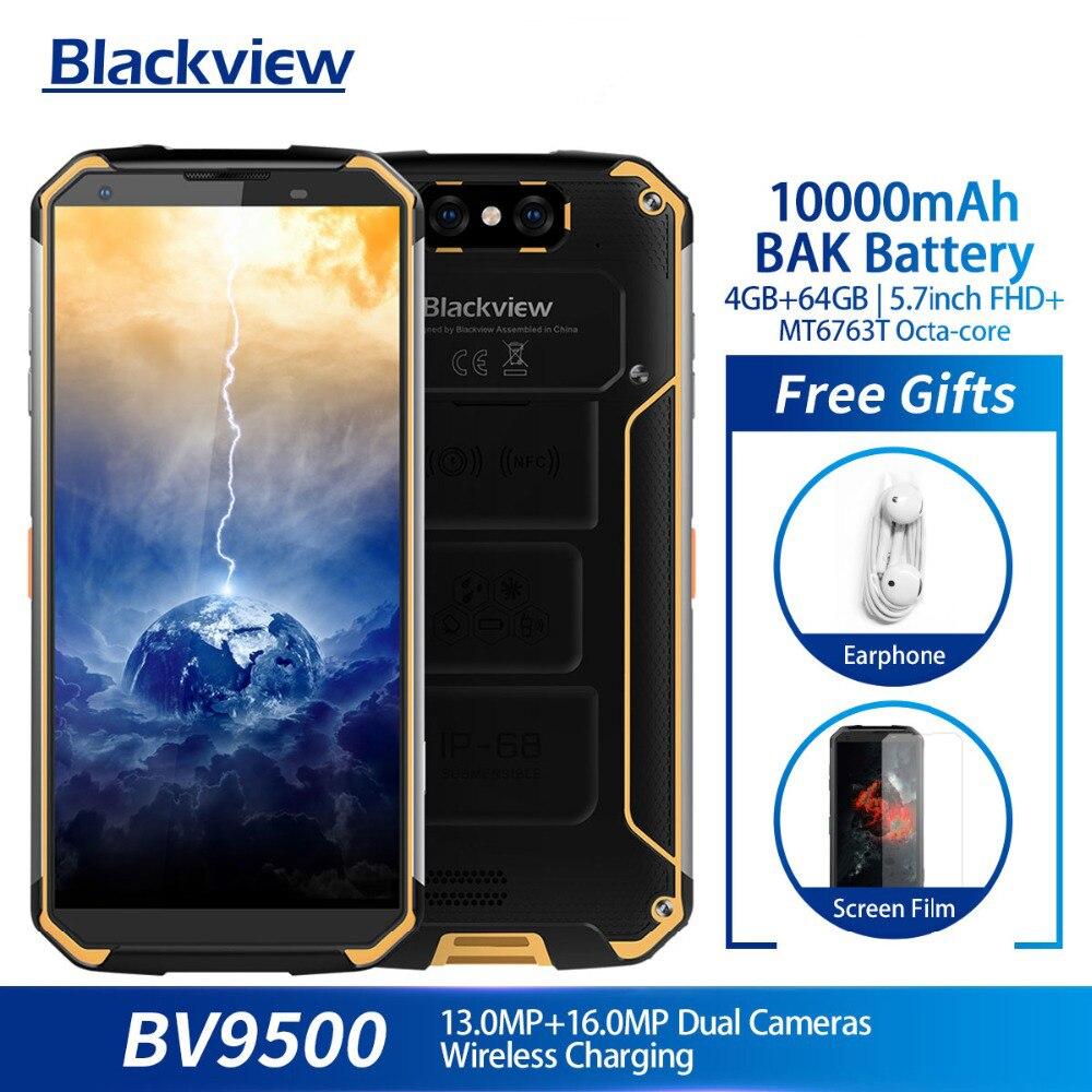 Blackview BV9500 10000 mAh IP68 Octa Core de Smartphones À Prova D' Água 5.7 polegada FHD 18:9 MT6763T 4 GB + 64 GB 16.0MP câmera Android 8.1