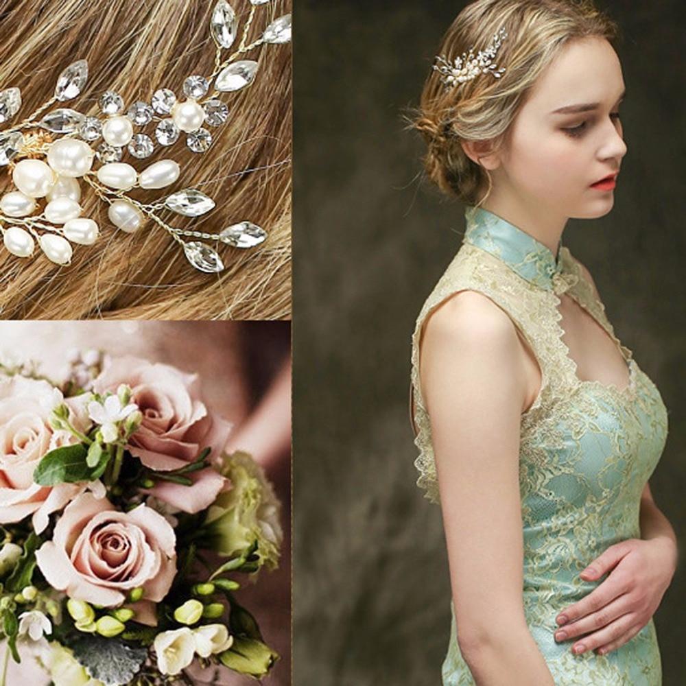 Bridal hair accessories for long hair - 1pcs Rhinestone Imitation Pearl Crystal Handmade Wedding Tiara Jewelry Accessories Headcomb Gold Bridal Long Haircomb 2017 New