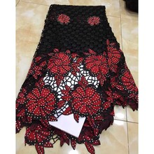 Red/Black New Design African Cord Lace Fabric 2018 Swiss Voile Lace embroidered French Mesh Lace Fabric High quality Stones
