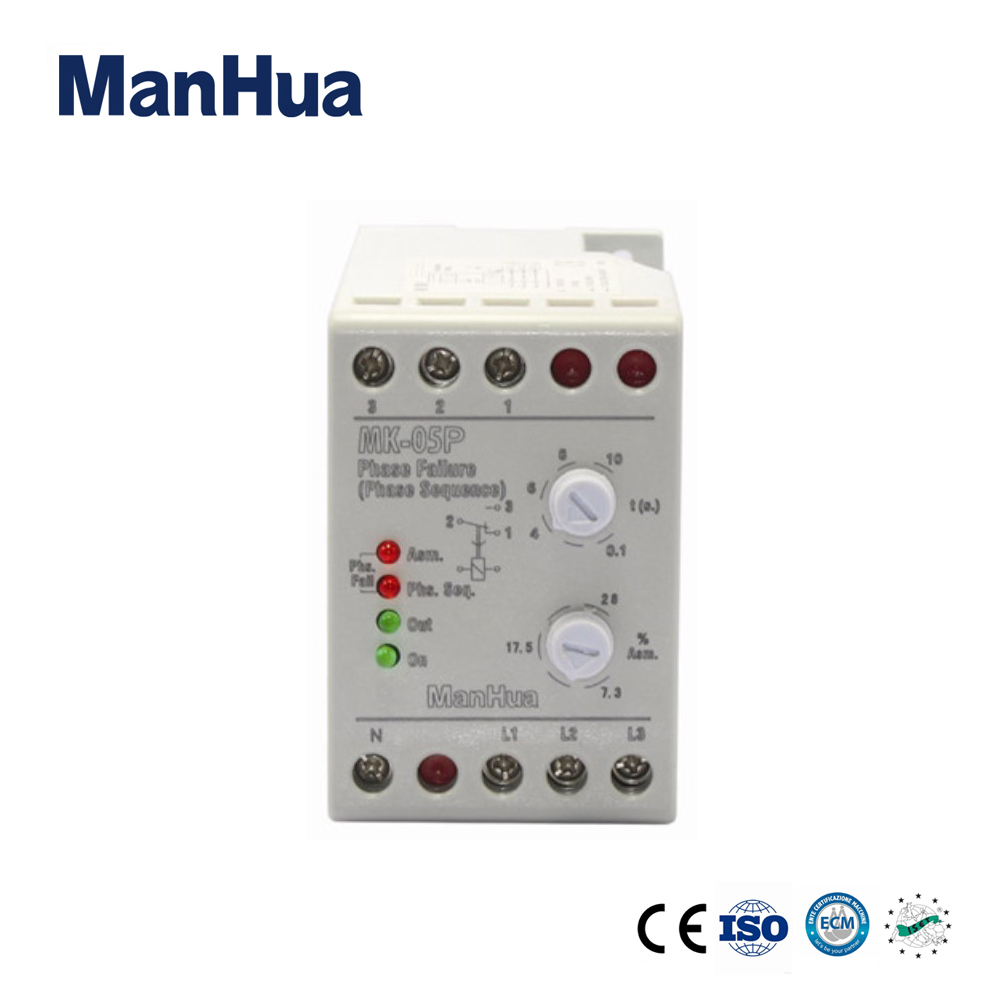 цена на ManHua High Quality Product PTC Protect Motor From Three Phase Failure Phase Sequence Protection 380V MK-05P Phase Failure Relay
