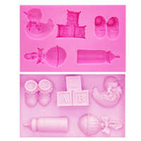 M0454 Duck Bottle Nipple Alphabet Block Shoes Baby Toy Series Silicone Fondant Mold Cookware Mould Cake Decorating Tool