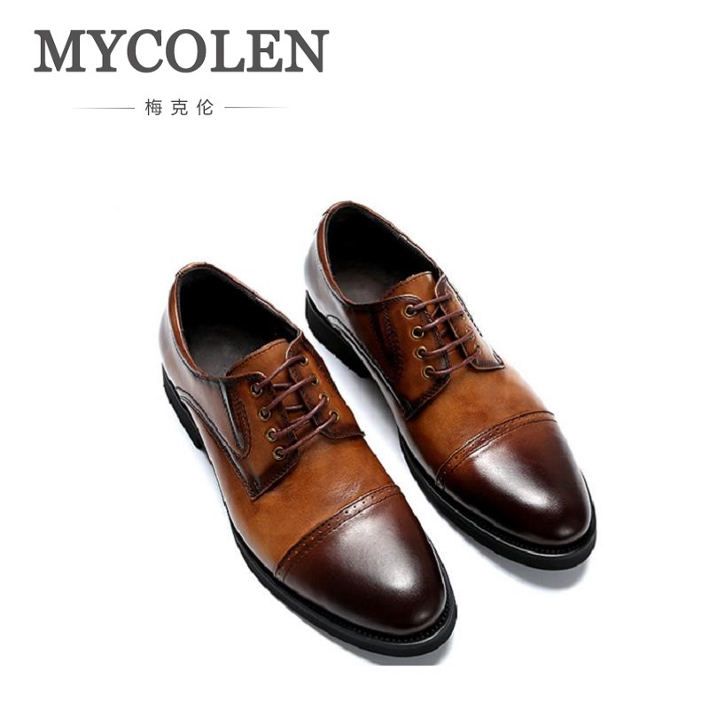MYCOLEN Men Flat Shoes Business Casual Men Leather Shoes England Men's Dress Wedding Breathable Patchwork Oxfords Shoes england carved men s business dress shoes leather men s shoes european version breathable black and white fight color shoes