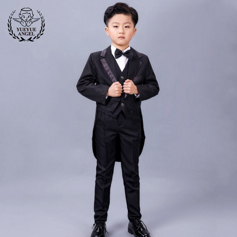 Children Party Wedding Suit Boys Red Silvery Baby Boy Suit Kids Long Blazer Formal 5 Piece Jacket+Pants+Bow+Vest Shirt Suits t016 new fashion boy suit jacket children show host children s piano vest suit t shirt vest pants bow tie boy blazer suit