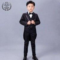 Children Party Wedding Suit Boys Red Silvery Baby Boy Suit Kids Long Blazer Formal 5 Piece Jacket+Pants+Bow+Vest Shirt Suits