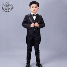 Los niños Traje de boda para niños rojo trajes para niños Traje Formal Bebe  plateado Formal niños trajes niños negro niños chaqu. 75c2834d80d