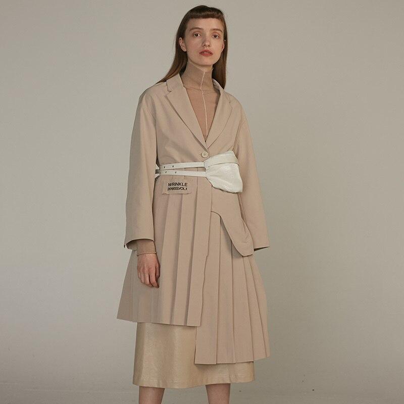 [EAM] 19 New Autumn Winter Lapel Long Sleeve Khaki Irregular Hem Pleated Split Joint Windbreaker Women Trench Fashion JQ483 5