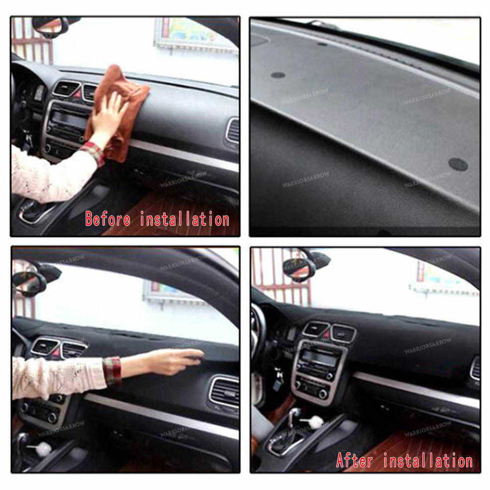Black LHD Dashboard Cover Dashmat Dash Mat Pad Sun Shade Dash Board Cover Carpet Protective Mat For Ford Fiesta MK7 2009-2017