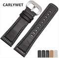CARLYWET 28mm Man Women Real Calf Leather Handmade Black with White Green Blue Stitches Wrist Watch Band Strap Belt Clasp