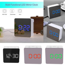 LED Mirror Alarm Clock Digital Table Clock Wake Up Multi Functional Light Electronic Large Time Temperature Display reloj mesa(China)
