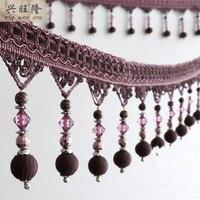 12 Yards Lot European Curtain Accessories Cross Beads Lace Tassel Fringes Trim Ribbon DIY Drapery Sewing