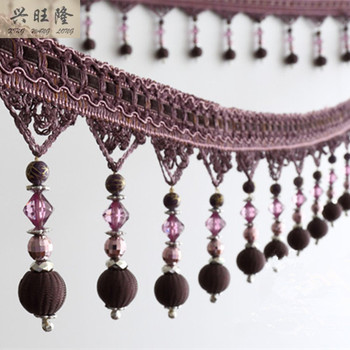 XWL 12Yards/lot Curtain Accessories Beads Lace Tassel Fringes Trim Ribbon DIY Drapery Sewing Valance Textile Curtain Fabrics