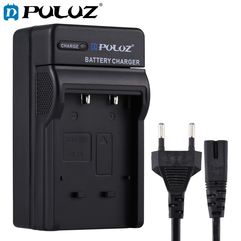PULUZ EU US Plug Battery Charger with Cable Car Charger For Nikon EN EL3 5 10 12 14 15 19 Battery in Chargers from Consumer Electronics