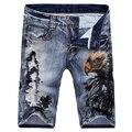 Men Printing Shorts Jeans 2016 New Summer Fashion Straight Slim Fit Knee Length Denim Shorts E1510