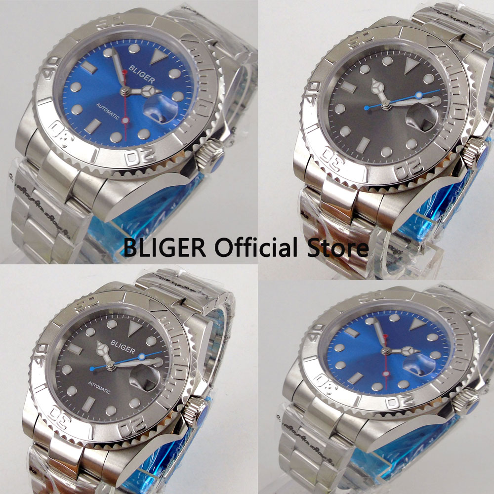 Sapphire Crystal BLIGER 40mm Blue Sterile Dial Stainless Steel Band Luminous Automatic Movement Men's Watch цена и фото