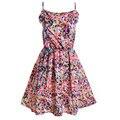 Colorful Dots Vestido 2015 Verano Nueva Mujer Vestidos de Gasa Correa de Espagueti Del Delantal Del Vestido Péndulo Vestido de Impresión de Puntos de Colores