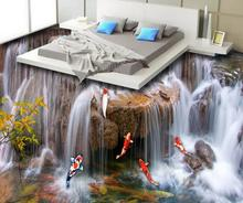 Custom luxury 3d floor painting waterfall wallpaper for walls 3 d vinyl flooring wallpapers for living room pvc flooring roll free shipping 3d outdoor flooring painted cartoons anti skidding thickened flooring mural living walls boy room wallpaper mural