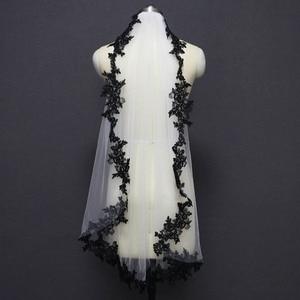 Image 3 - สีดำลูกไม้Appliquesสีขาวงาช้างTulleสั้นWedding Veils Oneชั้นผ้าคลุมหน้าเจ้าสาวด้วยหวีงานแต่งงานอุปกรณ์เสริมVeu De Noiva