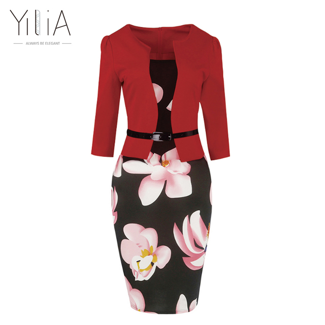 Yilia New Women One Piece Patchwork Floral Print Elegant Business Party Formal Office Plus Size Bodycon Pencil Casual Work Dress