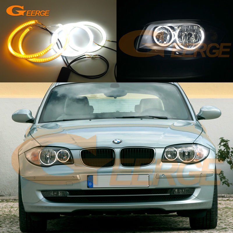 For BMW 1 Series E81 E82 E87 E88 Halogen Headlight Ultra bright Dual Color Switchback smd LED Angel Eyes Halo Rings kit super bright led angel eyes for bmw x5 2000 to 2006 color shift headlight halo angel demon eyes rings kit