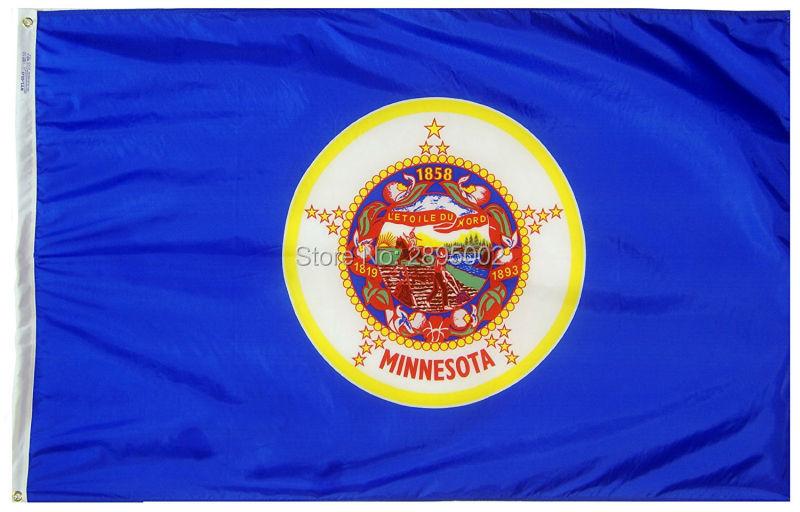 Minnesota State Flag Polyester grommets 3 x 5 Banner metal holes Flag