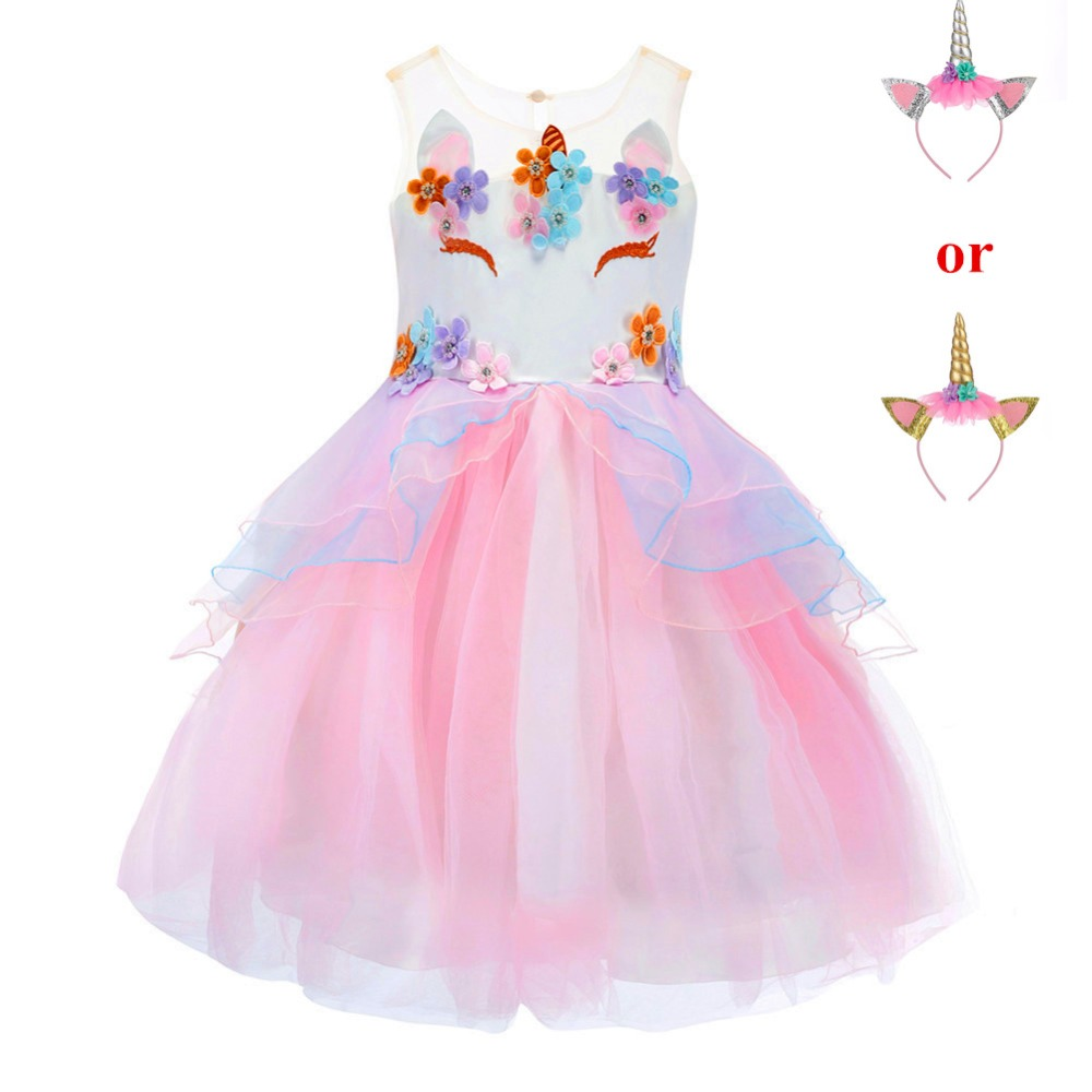 7726f485 2019 Unicorn Dress for Girls Kids Princess Dresses for Wedding Party Children  Clothing Embroidery Ball Gown Robe Fille Cosplay