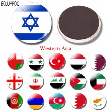 Israeli Flag 30 MM Glass Dome Magnetic Refrigerator Stickers Western Asia Jordan Oman Turkey Armenia Fridge Magnet Kitchen Decor(China)