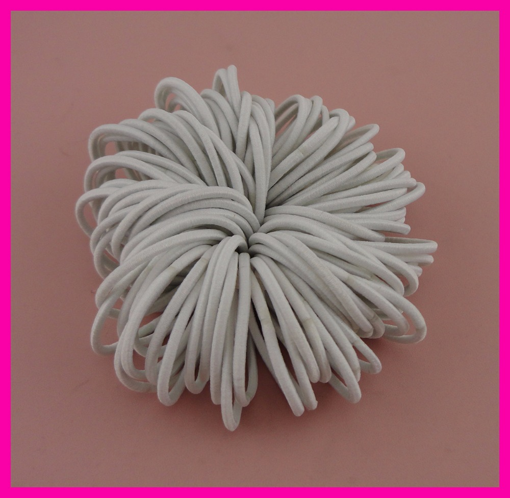 100PCS 2.5mm thickness 11.0cm length White Kids Elastic Ponytail Holders hair ties with glue connection,elastic hairband