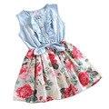 2017 Novas Meninas Vestido De Verão Flor Vestido de Bebê Vestidos Sem Mangas Crianças Vestidos Do Partido Dos Miúdos Da Princesa Roupas de Algodão Denim