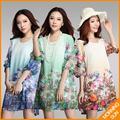 Nova 2017 mulheres verão casual coreano flores boho floral impressão metade manga grande tamanho grande xxl xxxl praia túnica curta dress #087