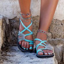Sandalias de verano para mujer, sandalias gladiador planas, zapatos de playa de cuerda, zapatos informales para mujer, estilo romano, sandalias zapatillas de mujer 2020 de talla grande