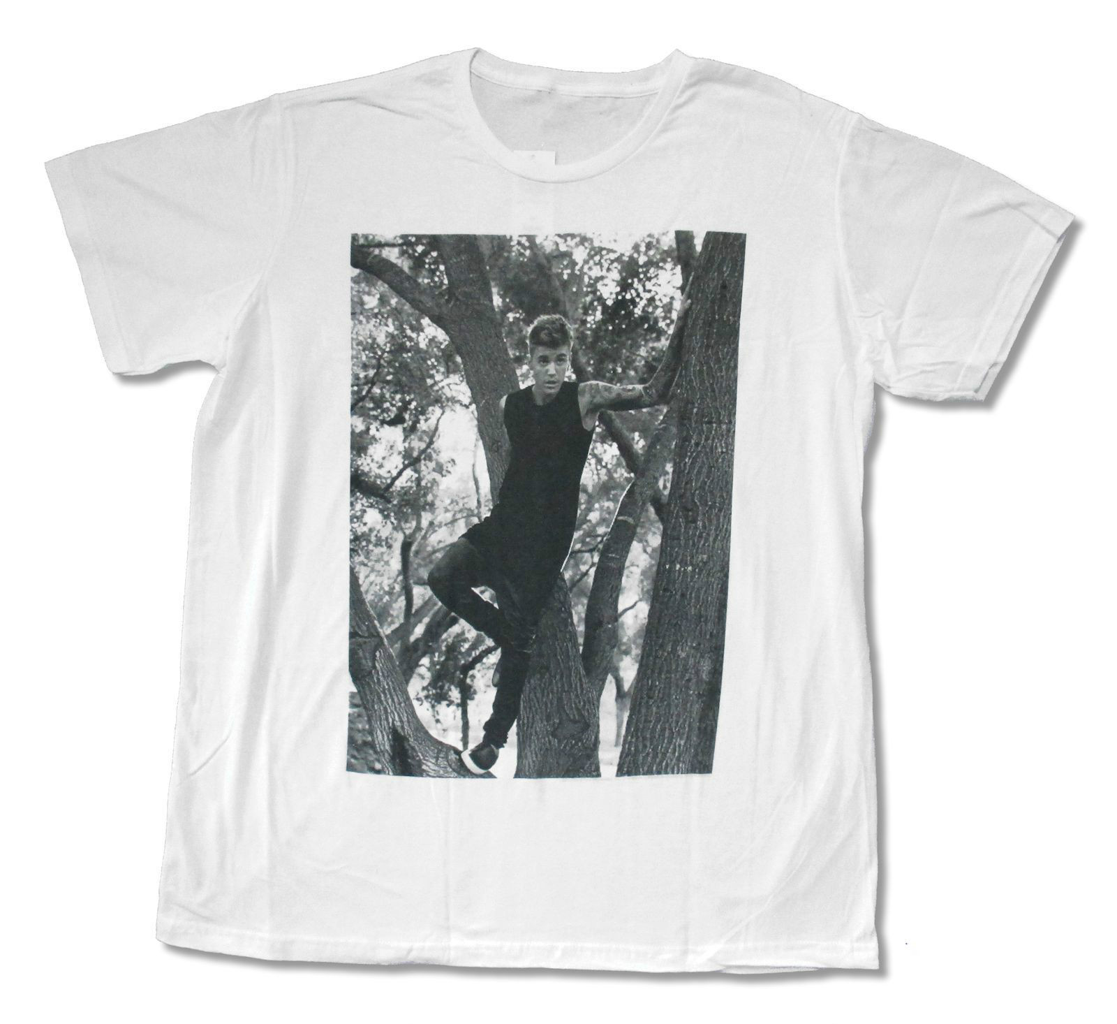 Design your own t-shirt for cheap price - Justin Bieber In A Tree White Slim Fit T Shirt New Official Adult