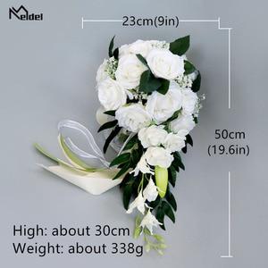Image 5 - Meldel Bride Waterfall Wedding Bouquet Bridesmaid Wedding Flower Vintage Rose Flower Marriage Party Supplies Luxurious Bouquet