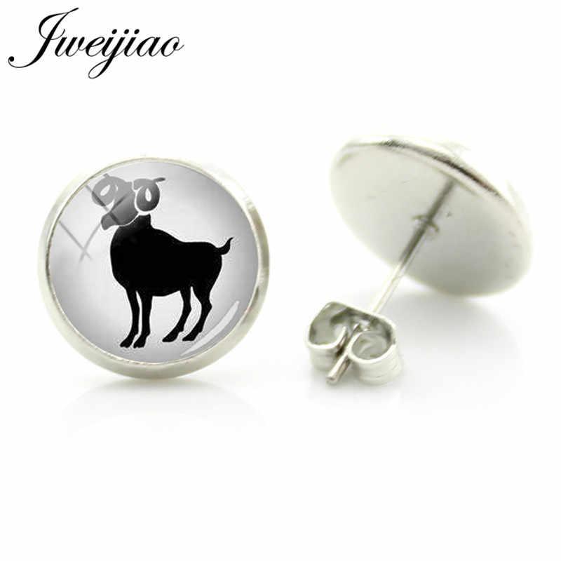 JWEIJIAO Twelve constellations Stud Earrings Glass Picture Cabochon Earrings For Woman Man Kids Jewelry Gift XZ15
