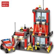 300Pcs City Fire Truck Car Building Blocks Sets Firefighter Creator Figures Bricks Toys For Children