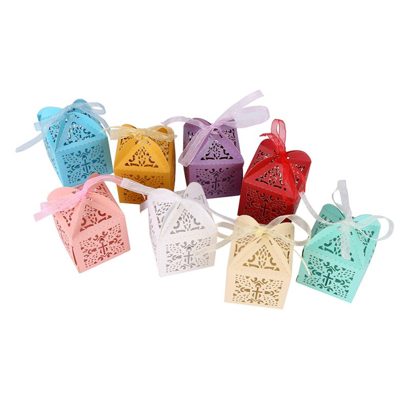 Creative Candy Box10Pcs/set Crossing Candy Boxes Angel Gift Box For Baby Shower Baptism Birthday First Communion 2018